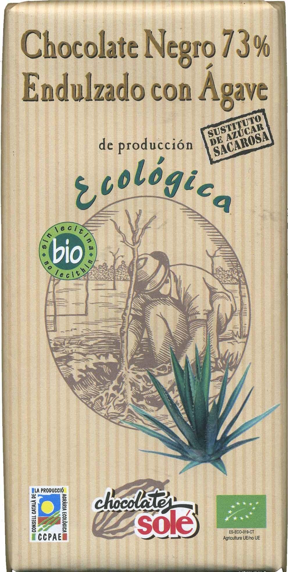Tableta de chocolate negro endulzado con ágave 73% cacao - Product - es
