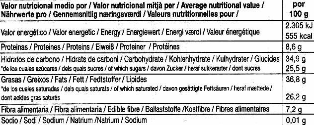 Tableta de chocolate negro endulzado con ágave 73% cacao - Nutrition facts - es