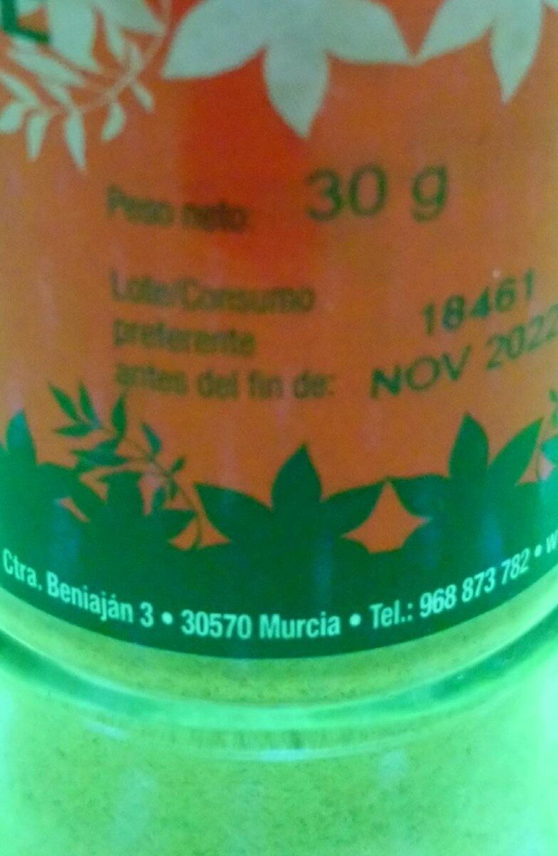 Jenjibre Molido - Información nutricional