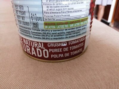 Tomate natural Martinete - Ingredientes