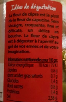 Fleurs De Câpres - 1 Pot De 230G - Voedingswaarden - fr