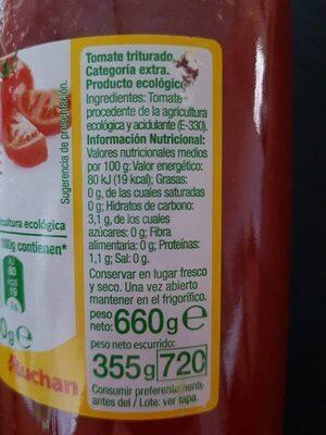 Tomate triturado extra - Información nutricional - es