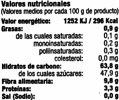 """Higos secos """"Casa Pons"""" - Información nutricional - es"""