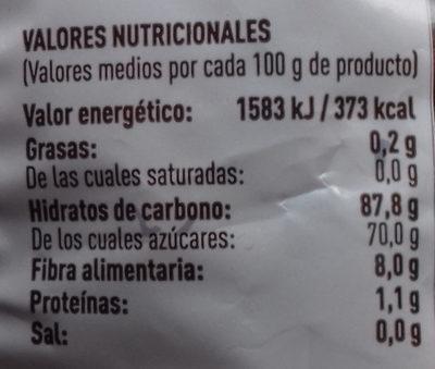 Dátiles con hueso - Información nutricional