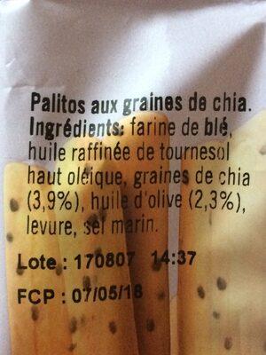 Palitos con semillas de chía - Ingrédients