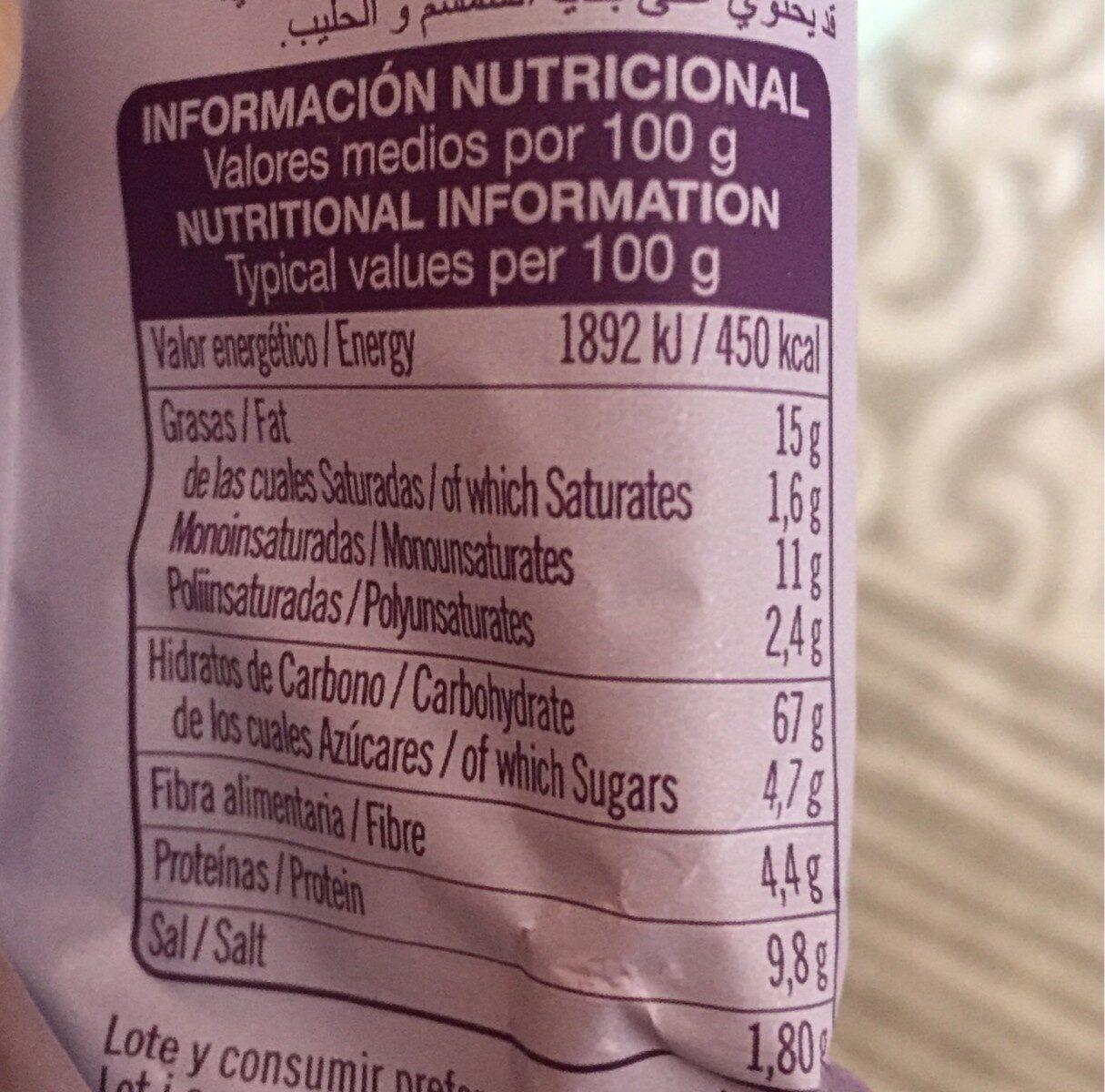 Palitos con semillas de chía - Informations nutritionnelles - es