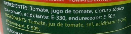 Tomate entero pelado - Ingredients - es