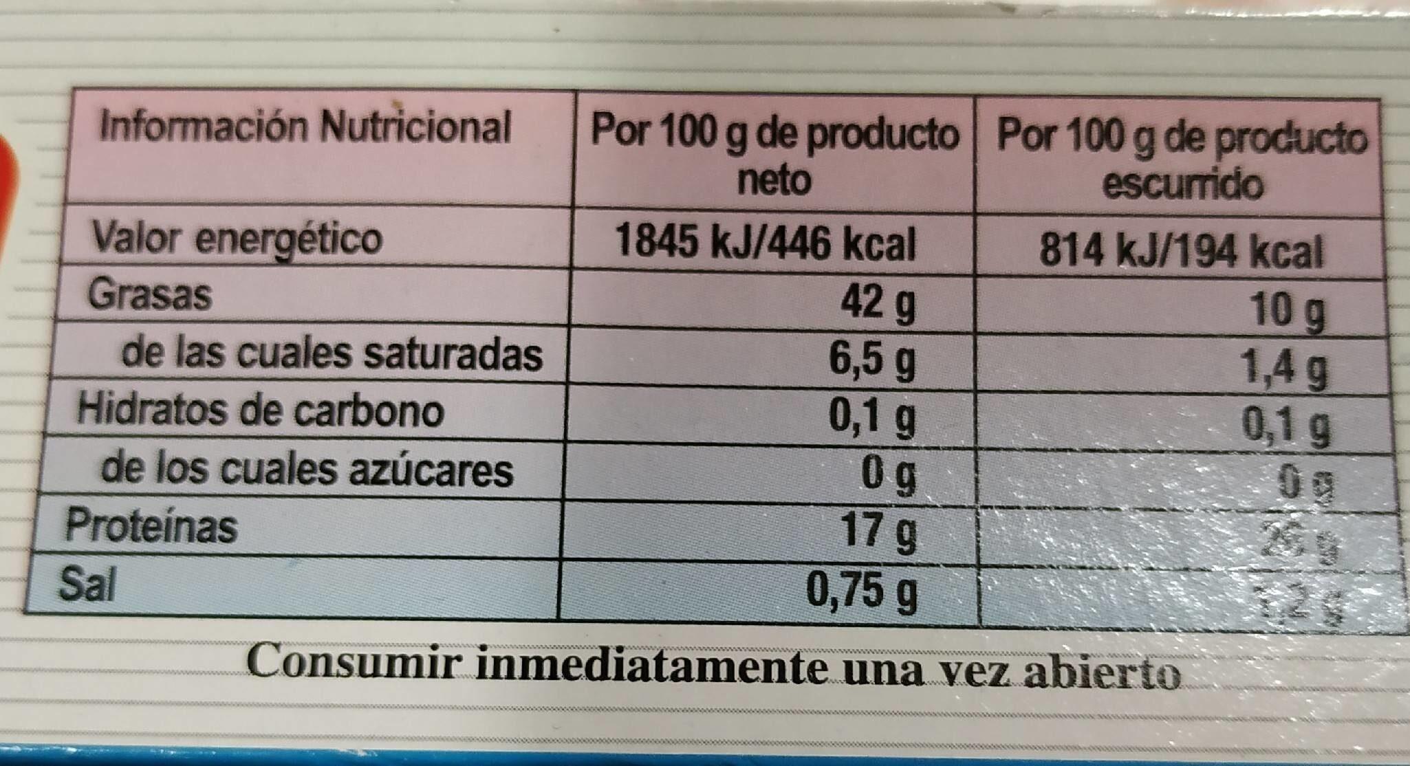 Atún claro en aceite vegetal - Información nutricional