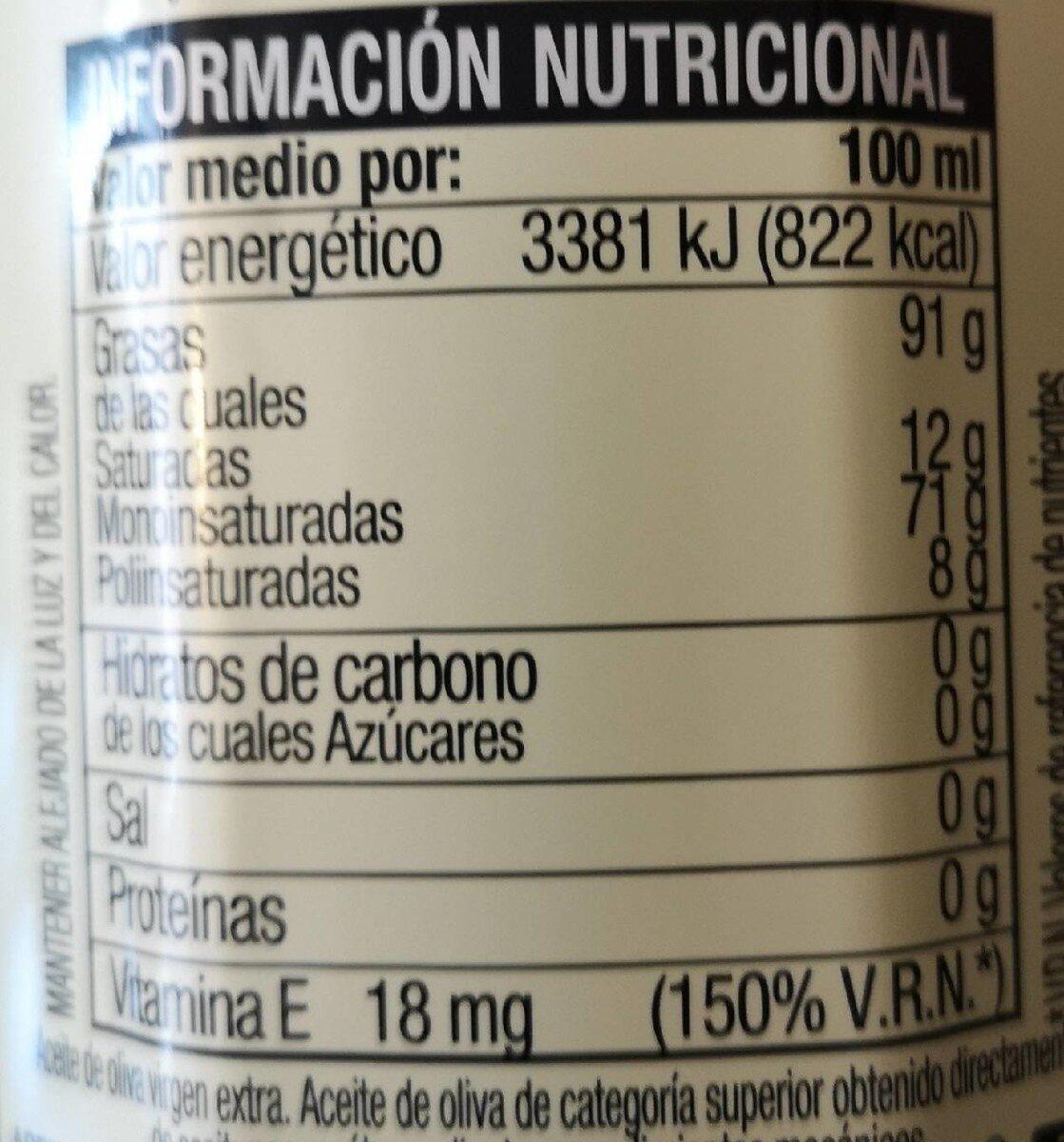 Aceite de oliva virgen extra Variedad Cornicabra - Informació nutricional - es