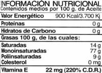 Aceite de oliva virgen extra Hojiblanca botella 1 l - Información nutricional