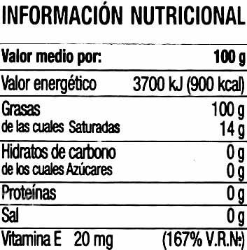 Aceite de oliva virgen extra arbequina - Informació nutricional