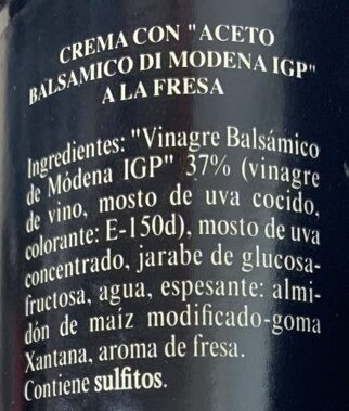 Crema Balsamica de Modena (Fresa) - Ingredientes