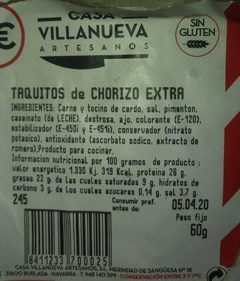 Taquitos chorizo extra - Product - es