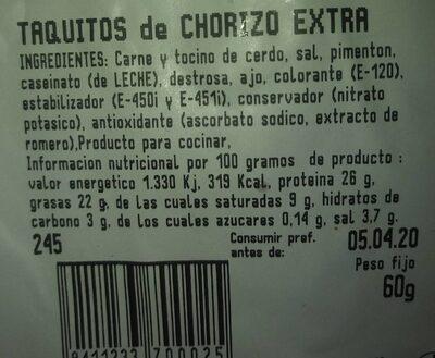 Taquitos chorizo extra - Voedingswaarden - es
