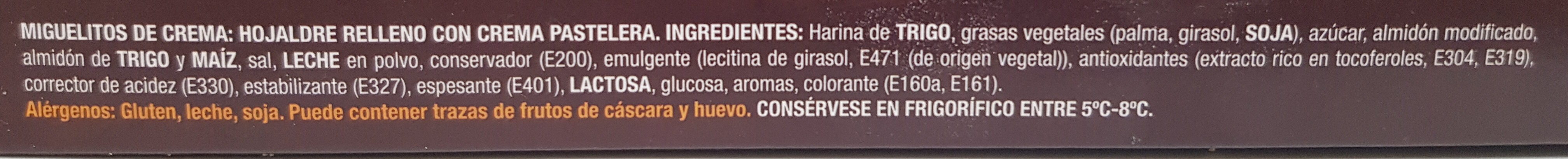 Miguelitos de la Roda con crema - Ingrediënten - es
