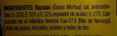 Bacalao skrei - Información nutricional - es