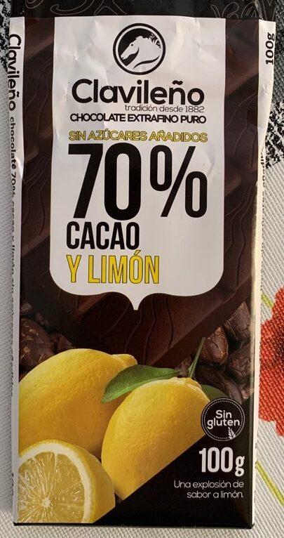 Chocolate extrafino puro 70% cacao y limon - Producte