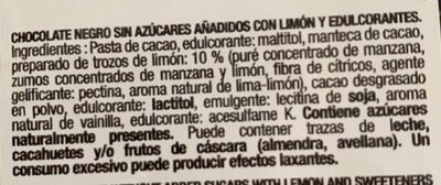 Chocolate negro 70% cacao y limon - Ingredients