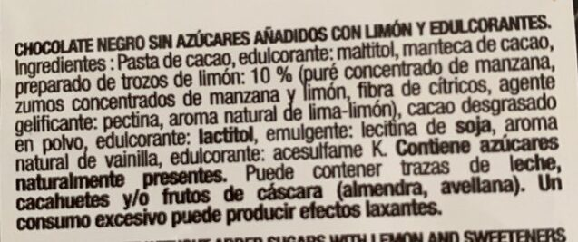 Chocolate extrafino puro 70% cacao y limon - Ingredients