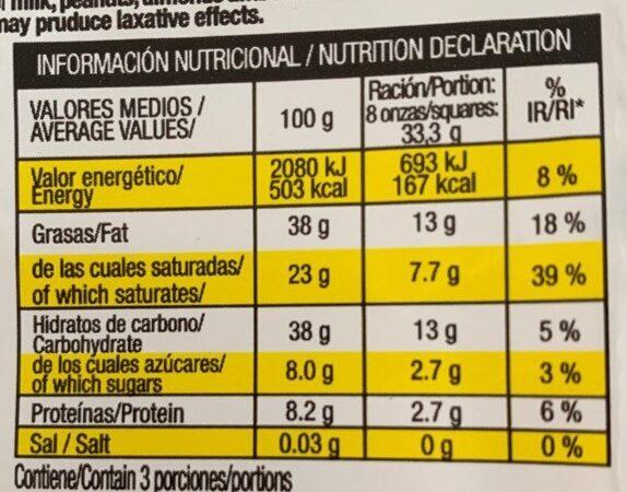 Chocolate extrafino puro 70% cacao y limon - Informació nutricional