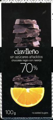 Chocolate negro con naranja edulcorado 70% cacao - Producte