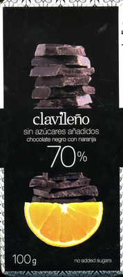 Chocolate negro con naranja edulcorado 70% cacao - Producto - es