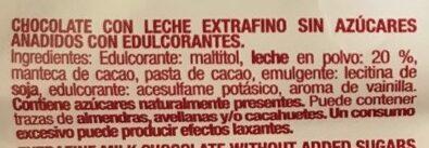 Chocolate extrafino con leche - Ingrediënten