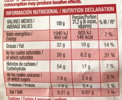 Chocolate extrafino con leche - Voedigswaarden