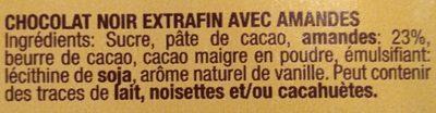 Chocolat 52% cacao et amandes - Ingredientes