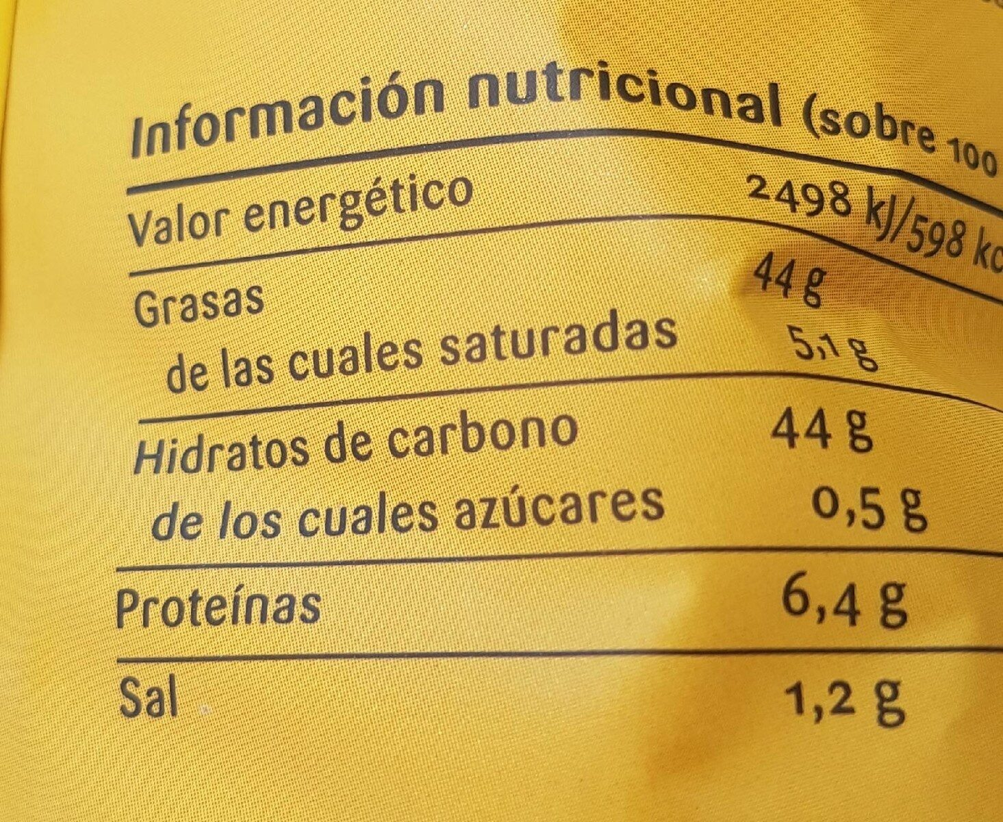 Patata - Nutrition facts - es