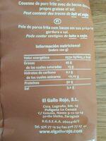 Torreznos 100% natural bolsa 100 g - Informació nutricional - es