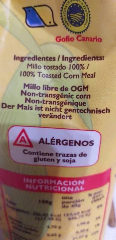 Gofio La Piña S. L. Gofio De Millo,Tueste Suave 500G - Ingrediënten