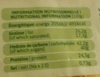 Leche en polvo de Irlanda - Informació nutricional
