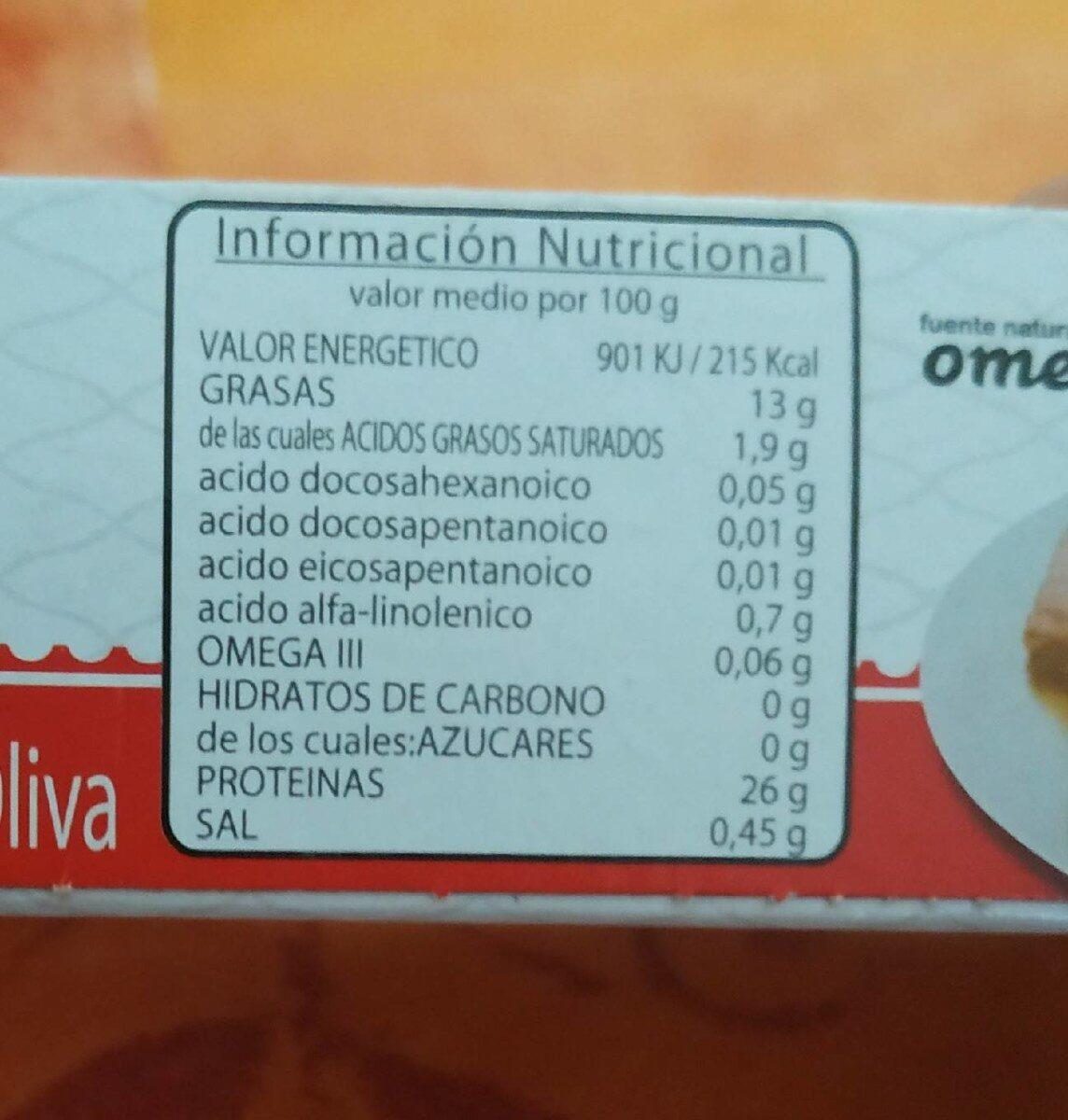 Filets de thon à l'huile d'olive espagnol - Informations nutritionnelles - fr