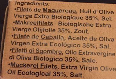 Filets de Maquereau d'Andalousie - Ingredientes - es