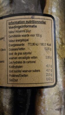 PESASUR Sardines à l'huile d'olive vierge extra biologique - Voedingswaarden - en