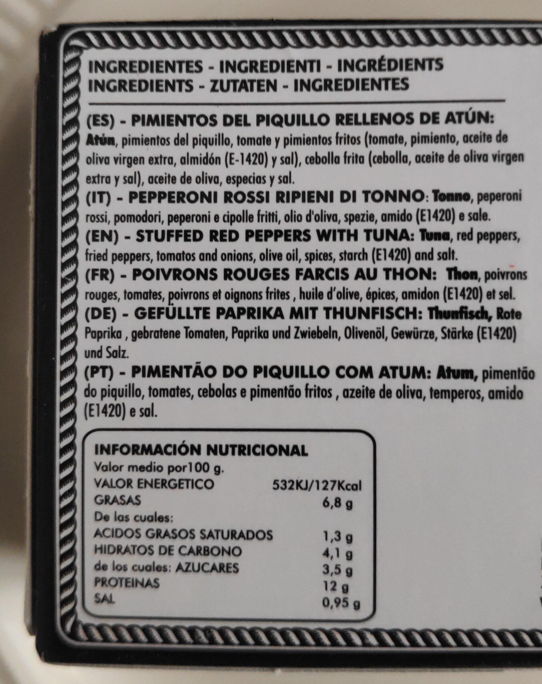 PESASUR pimientos del piquillo rellenos de atún - Ingrédients - es