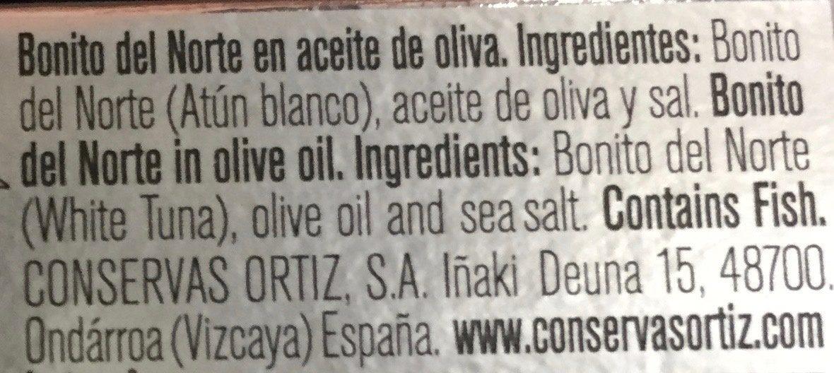 Bonito del norte en aceite de oliva - Ingrediënten - es