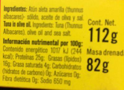 Atun claro en aceite de oliva - Información nutricional - es