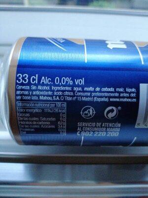 Cerveza mahou 0,0 - Ingredientes