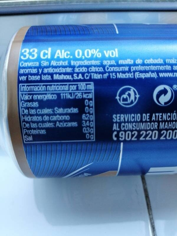 Cerveza mahou 0,0 - Información nutricional