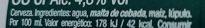 Cerveza mahou - Ingredients - es