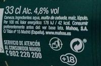 Cerveza mahou - Nutrition facts - es