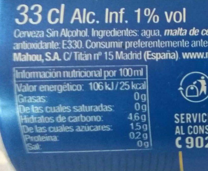 Bierre Mahou Sans Alcohol - Información nutricional