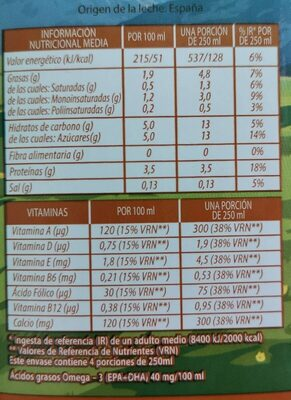 Leche omega 3 - Nutrition facts