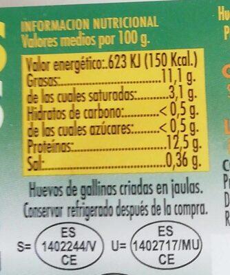 Huevos Frescos - Información nutricional - es