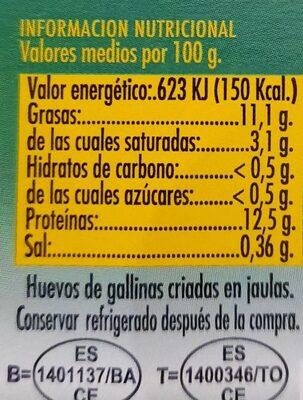 Huevos Frescos - Voedingswaarden - es