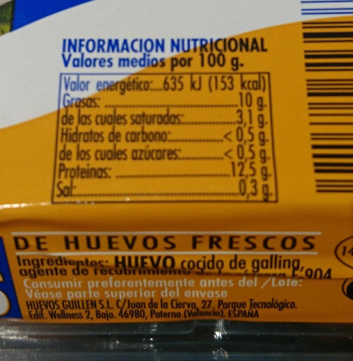 Huevos cocidos - Informations nutritionnelles - es