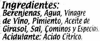 Berenjena de Almagro (IGP) Troceada cachitos - Ingredients