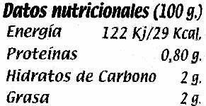 Berenjena de Almagro (IGP) Troceada cachitos - Informació nutricional